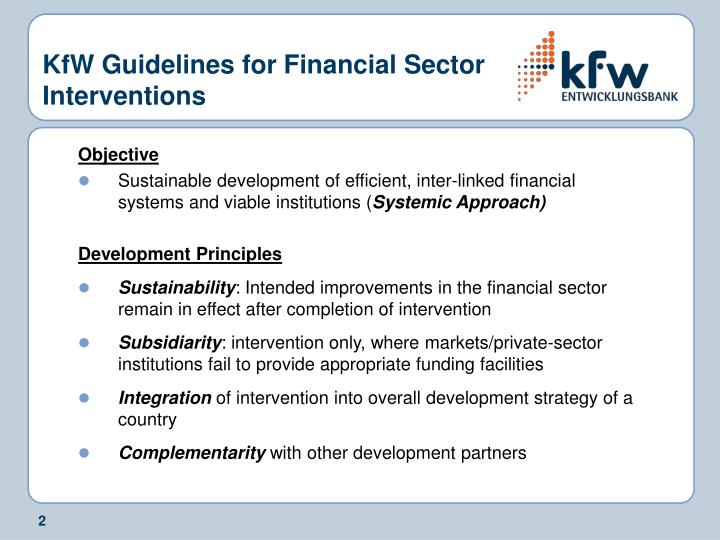 KfW Guidelines for Financial Sector Interventions