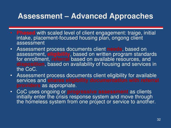 Assessment – Advanced Approaches