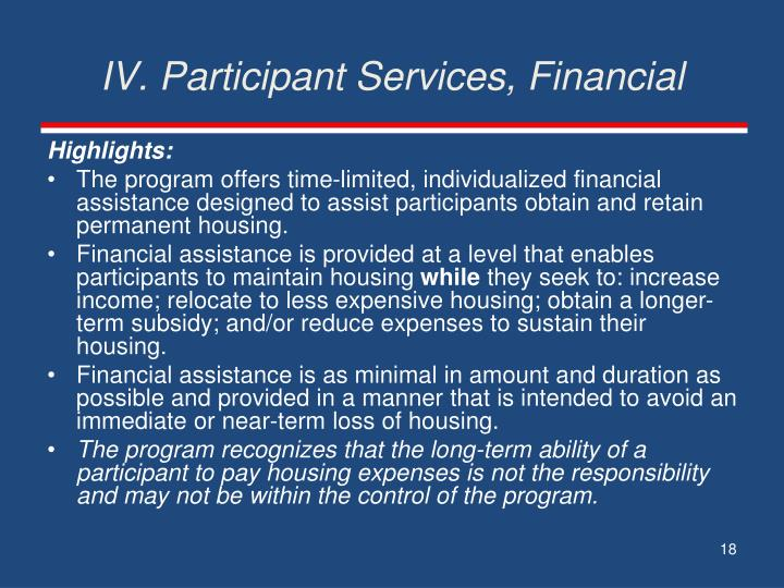 IV. Participant Services, Financial