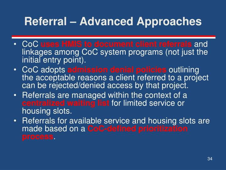 Referral – Advanced Approaches