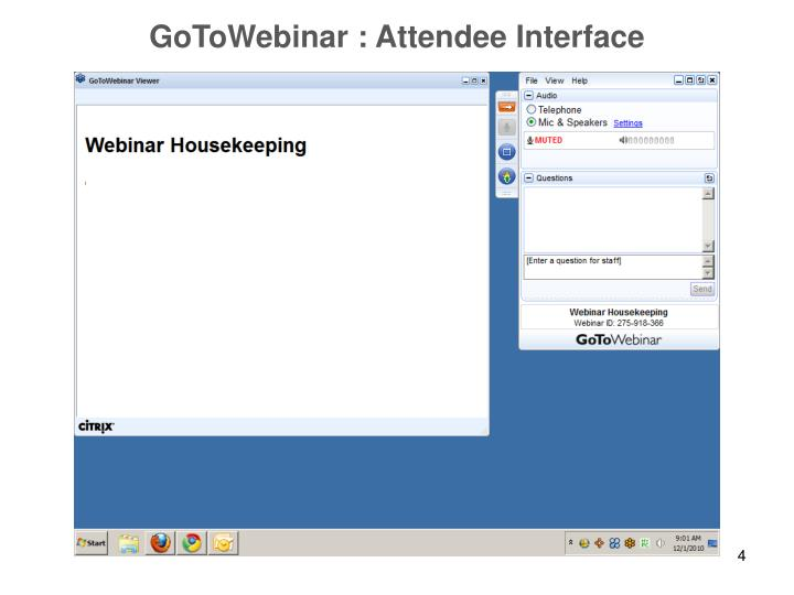 GoToWebinar : Attendee Interface