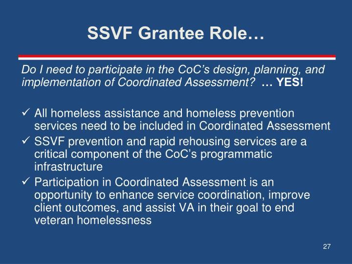 SSVF Grantee Role…