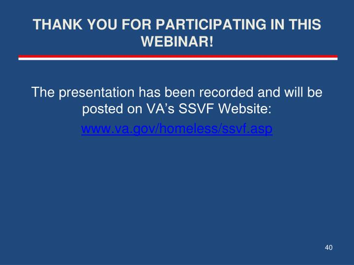 THANK YOU FOR PARTICIPATING IN THIS WEBINAR!