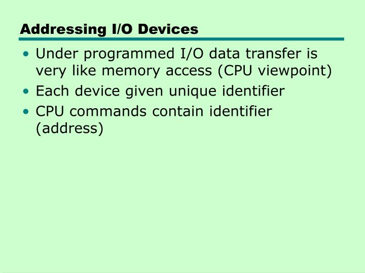 Addressing I/O Devices