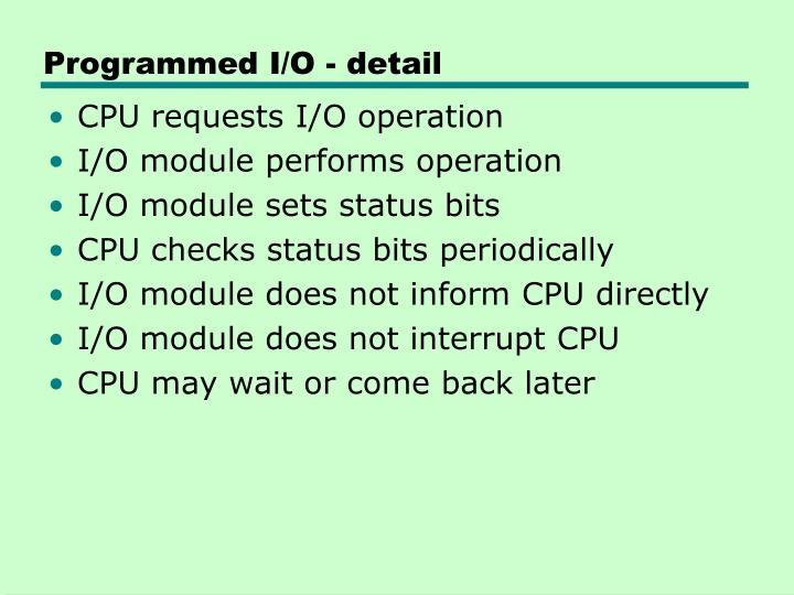 Programmed I/O - detail