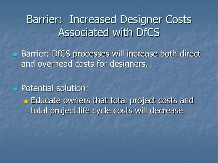 Barrier:  Increased Designer Costs Associated with DfCS