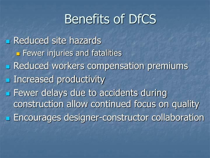Benefits of DfCS