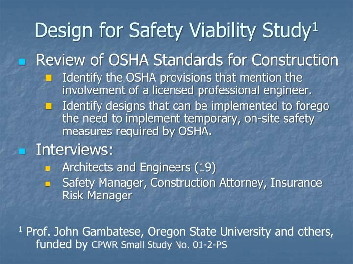 Design for Safety Viability Study