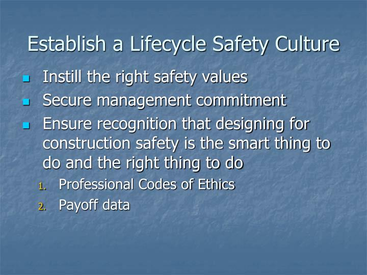 Establish a Lifecycle Safety Culture