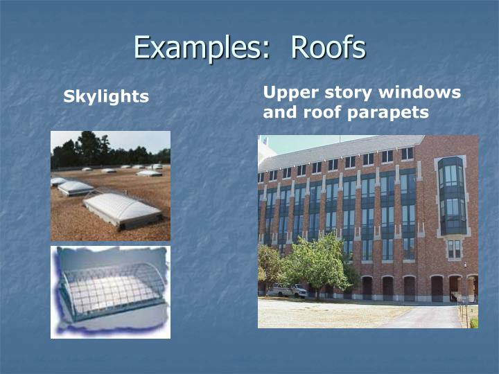 Examples:  Roofs