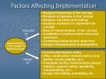 factors affecting implementation