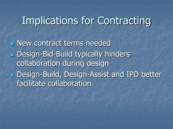 Implications for Contracting