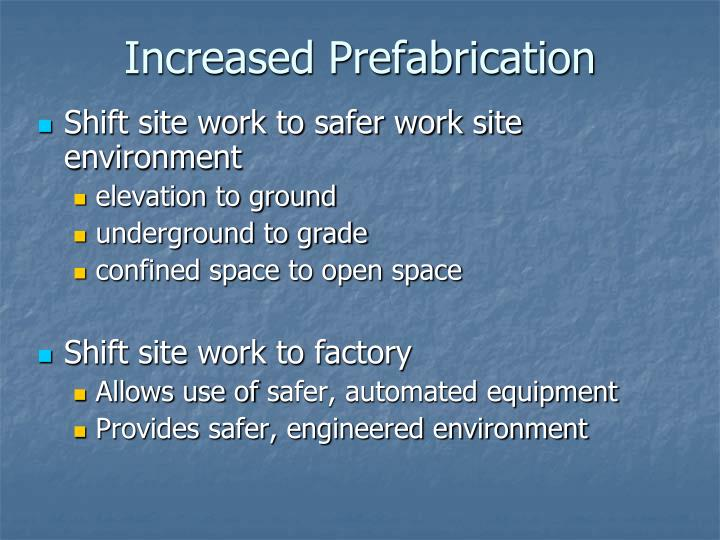 Increased Prefabrication