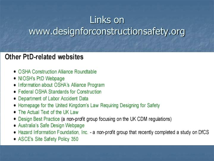 Links on www.designforconstructionsafety.org