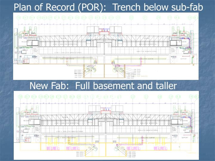Plan of Record (POR):  Trench below sub-fab level