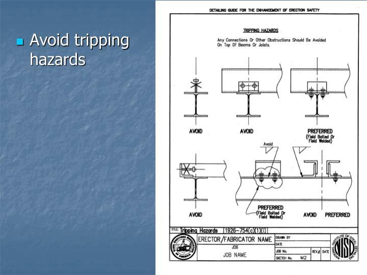 Avoid tripping hazards