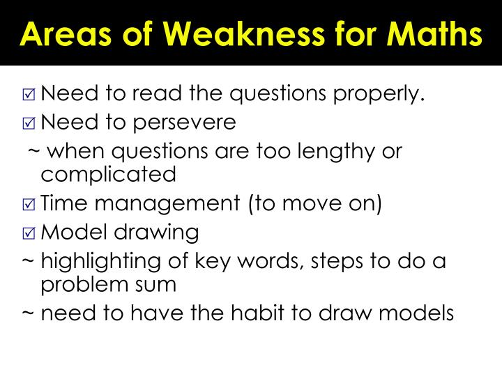 Areas of Weakness for Maths