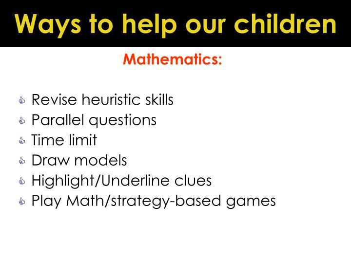 Ways to help our children