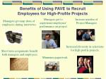 benefits of using pave to recruit employees for high profile projects