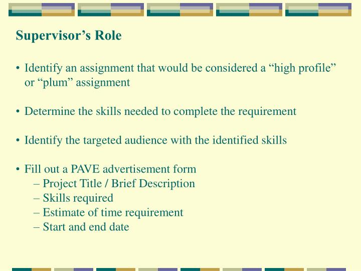 Supervisor's Role