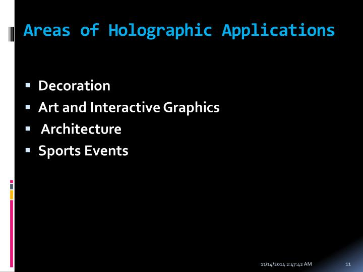 Areas of Holographic Applications