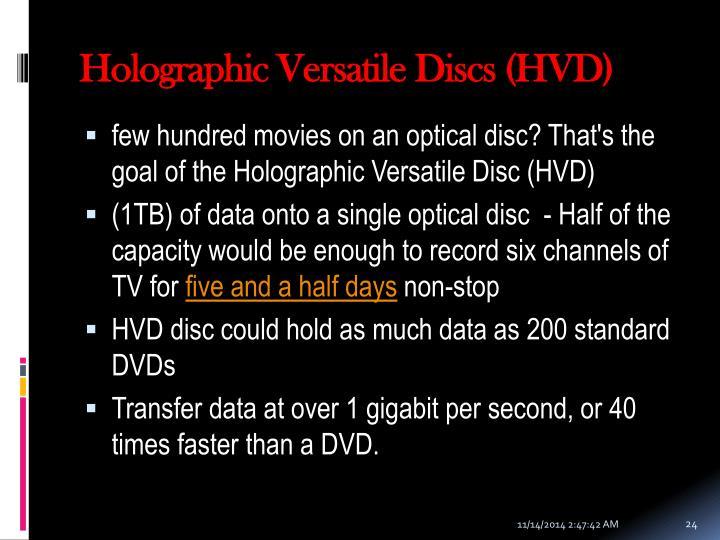 Holographic Versatile Discs (HVD)