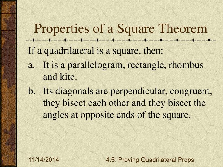 Properties of a Square Theorem