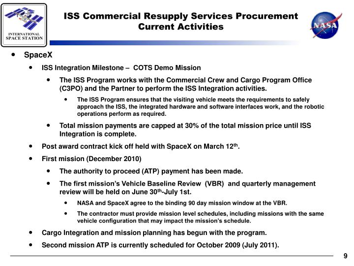 ISS Commercial Resupply Services Procurement Current Activities