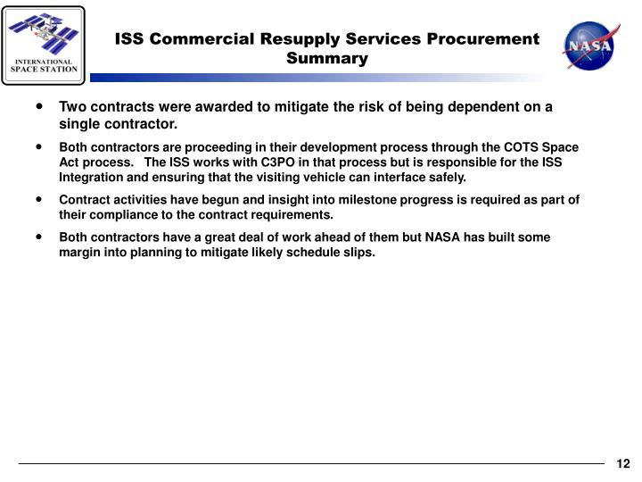 ISS Commercial Resupply Services Procurement