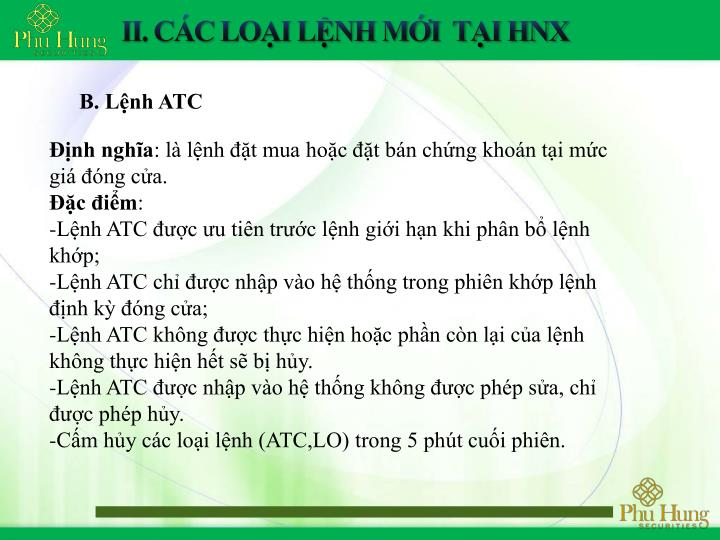 B. Lệnh ATC