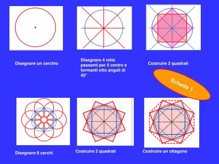 Disegnare 4 rette passanti per il centro e formanti otto angoli di 45°