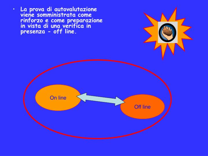 La prova di autovalutazione viene somministrata come rinforzo e come preparazione in vista di una verifica in presenza - off line.