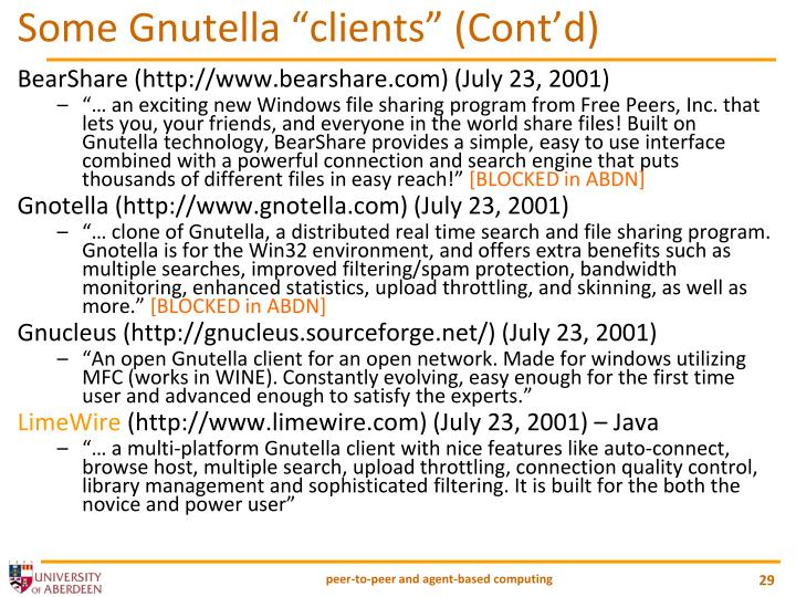 "Some Gnutella ""clients"" (Cont'd)"