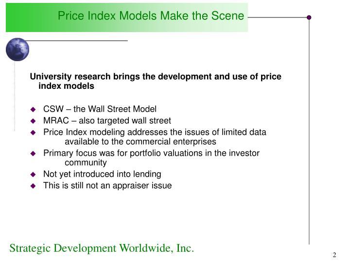 Price Index Models Make the Scene