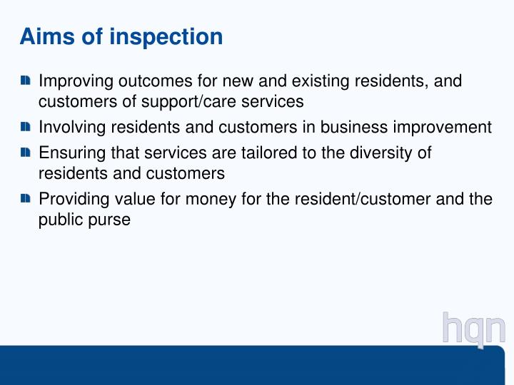 Aims of inspection