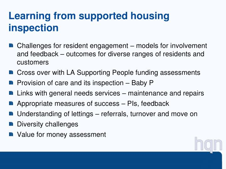 Learning from supported housing inspection
