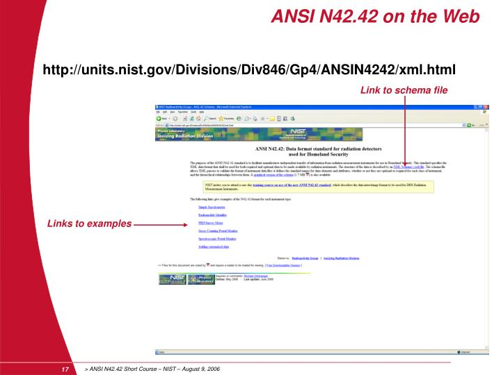 ANSI N42.42 on the Web