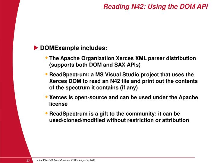 Reading N42: Using the DOM API