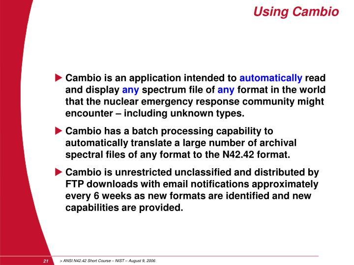 Using Cambio