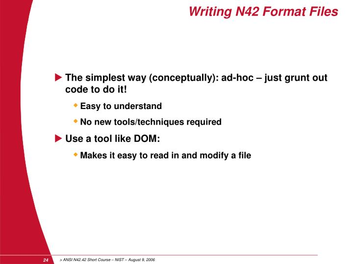 Writing N42 Format Files