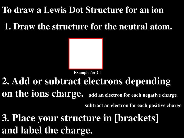 To draw a Lewis Dot Structure for an ion