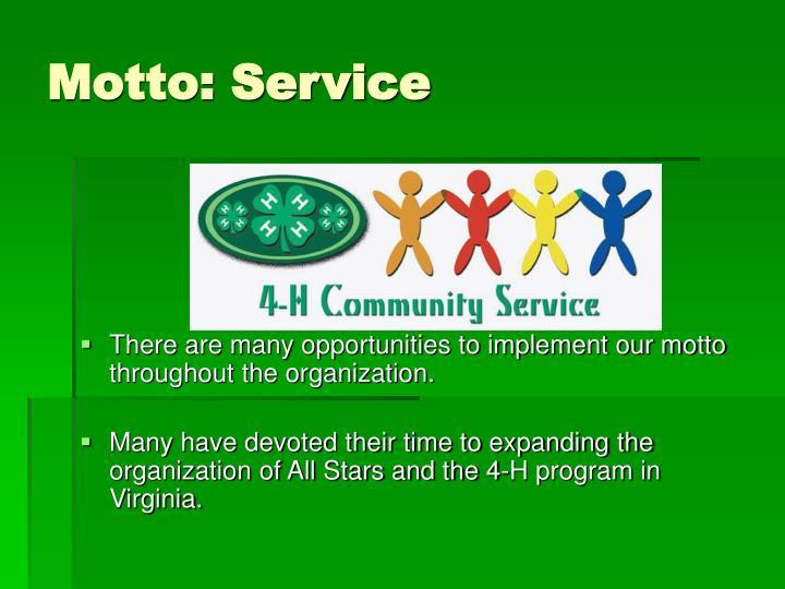 Motto: Service