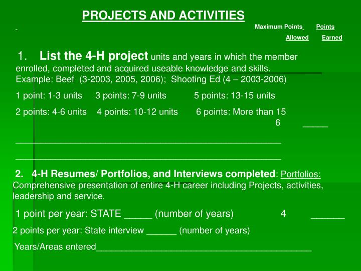 PROJECTS AND ACTIVITIES