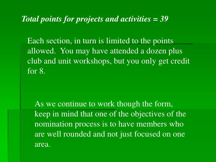 Total points for projects and activities = 39