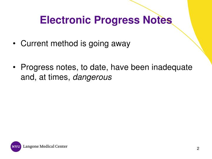 Electronic progress notes