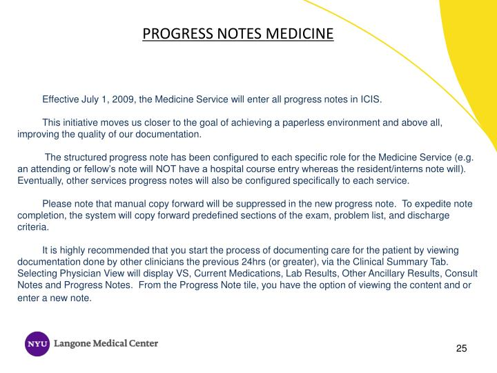 PROGRESS NOTES MEDICINE