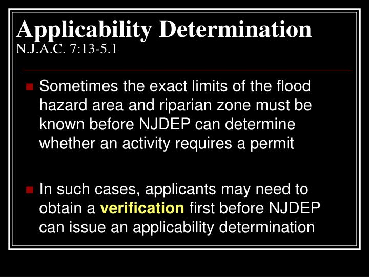 Applicability Determination