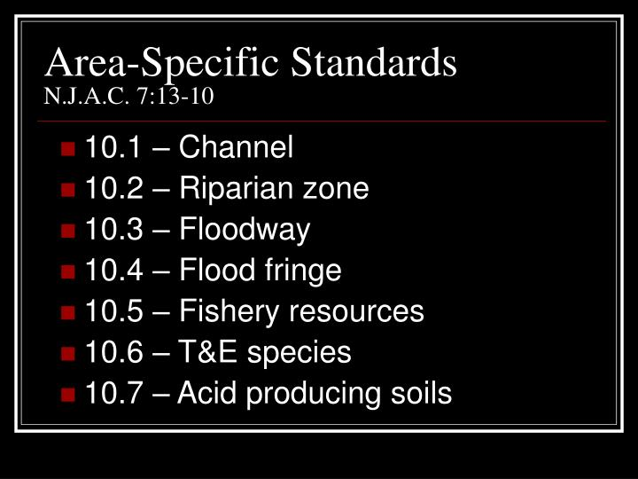 Area-Specific Standards