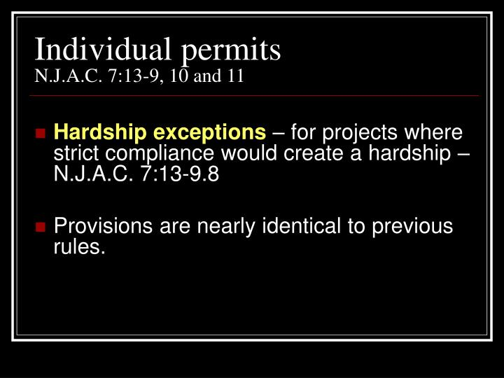 Individual permits