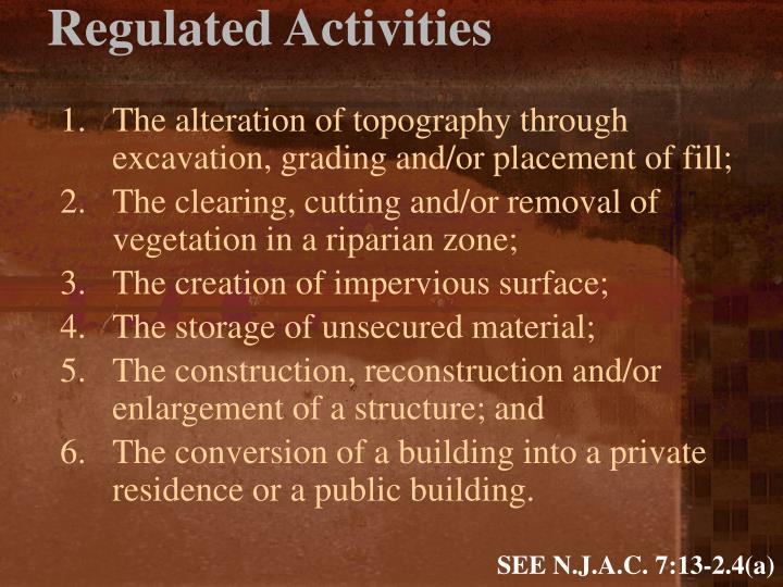 Regulated Activities